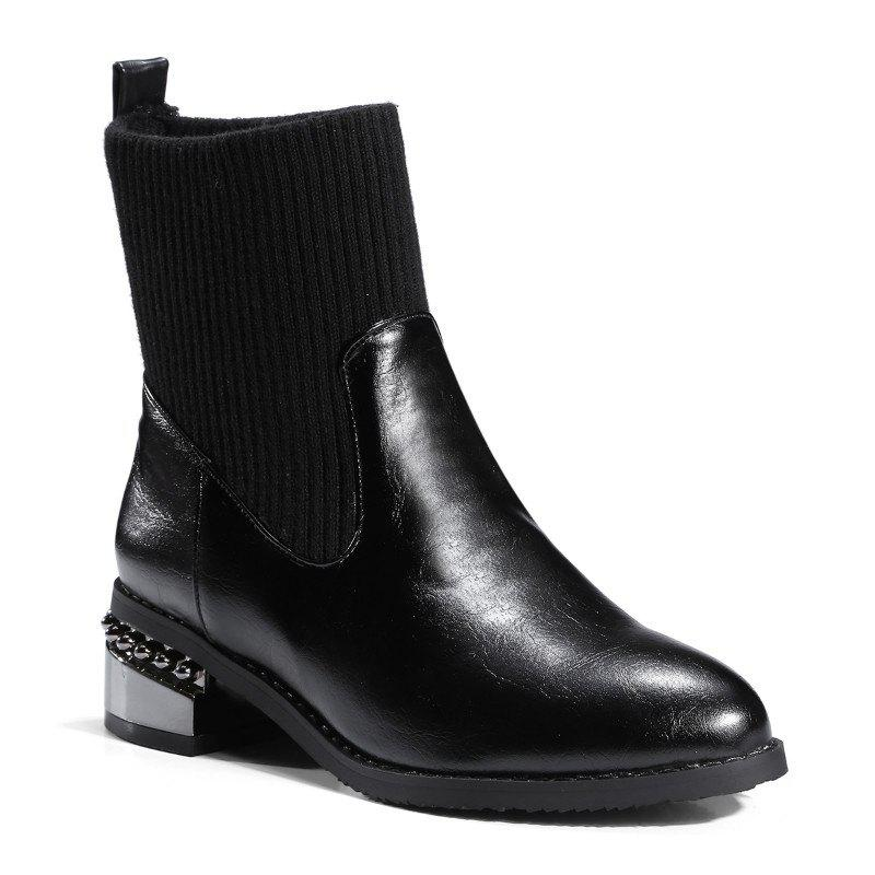 Round Head with Thick with All-Match Bare Boots - BLACK 46