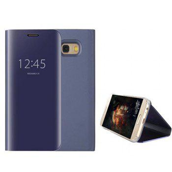 With Stand Plating Mirror Flip Auto Sleep Wake Up Full Body Solid Color Hard PC Case Cover for Samsung Galaxy A3 (2017) - DEEP BLUE