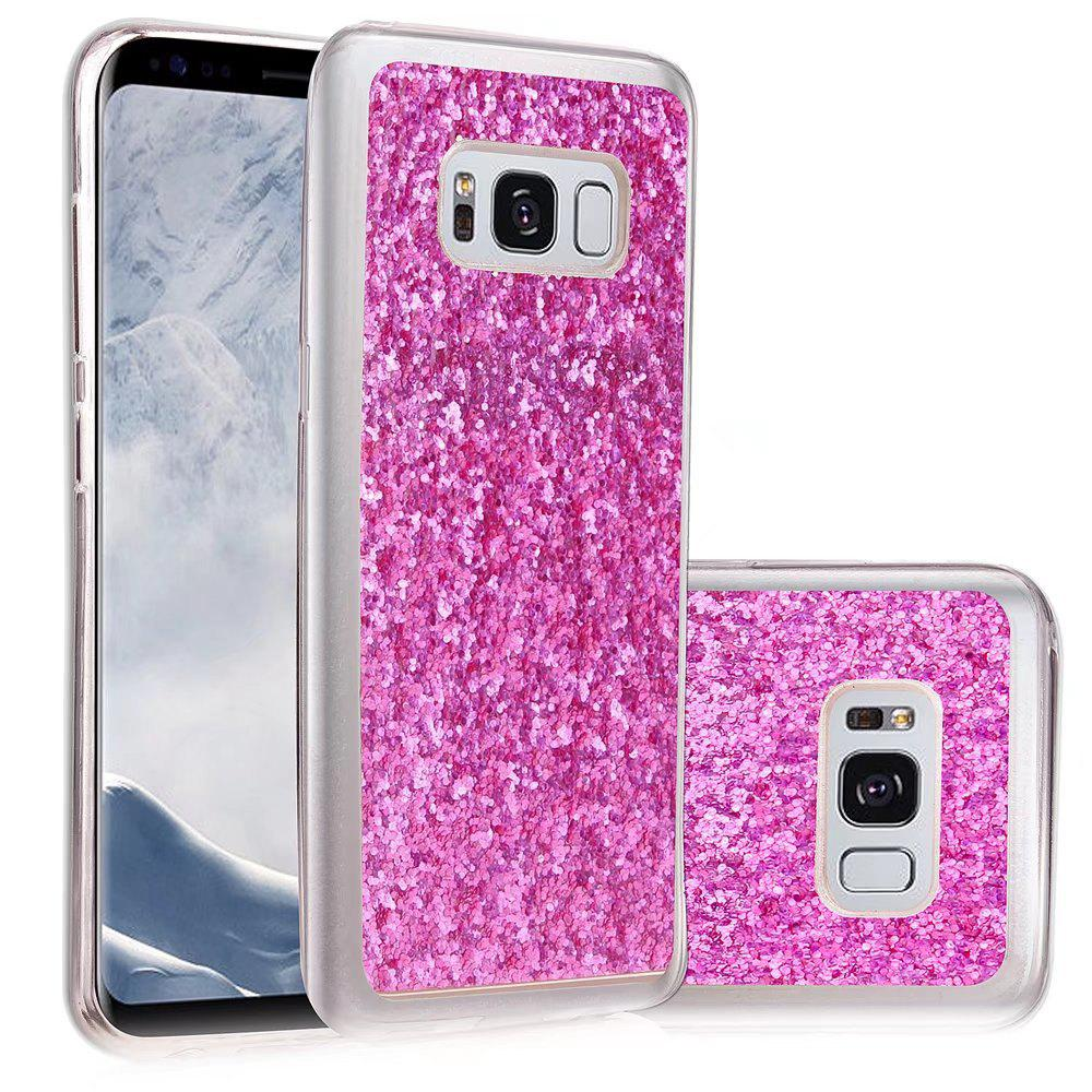 Soft Fashion Bling Shining Powder Sequins Case for Samsung Galaxy S8 - ROSE RED