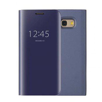 With Stand Plating Mirror Flip Auto Sleep Wake Up Full Body Solid Color Hard PC Case Cover for Samsung Galaxy A7 (2017) - DEEP BLUE