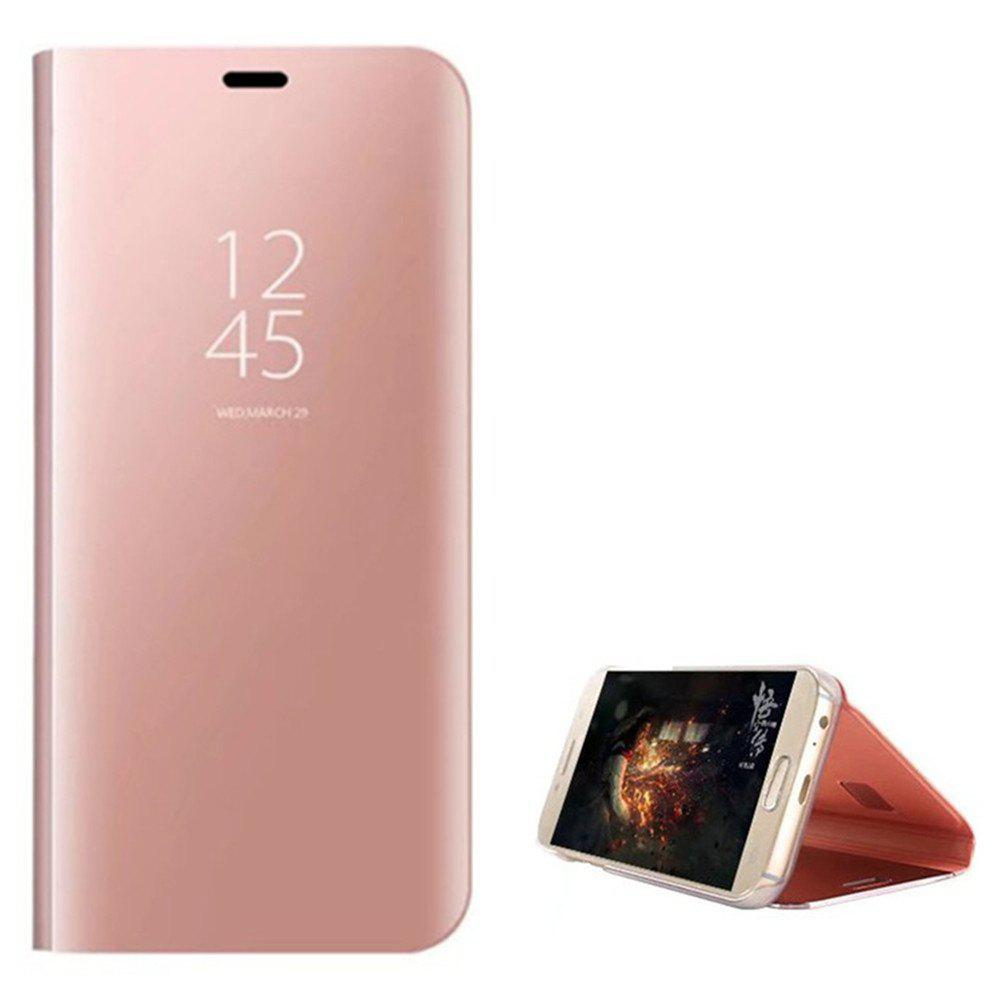 With Stand Plating Mirror Flip Auto Sleep Wake Up Full Body Solid Color Hard PC Case Cover for Samsung Galaxy A7 (2017) - ROSE GOLD