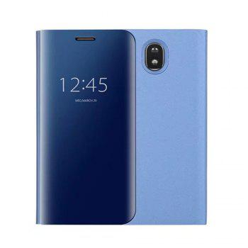 With Stand Plating Mirror Flip Auto Sleep Wake Up Full Body Solid Color Hard PC Case Cover for Galaxy J7 (2017) / J7 Pro - LIGHT BLUE
