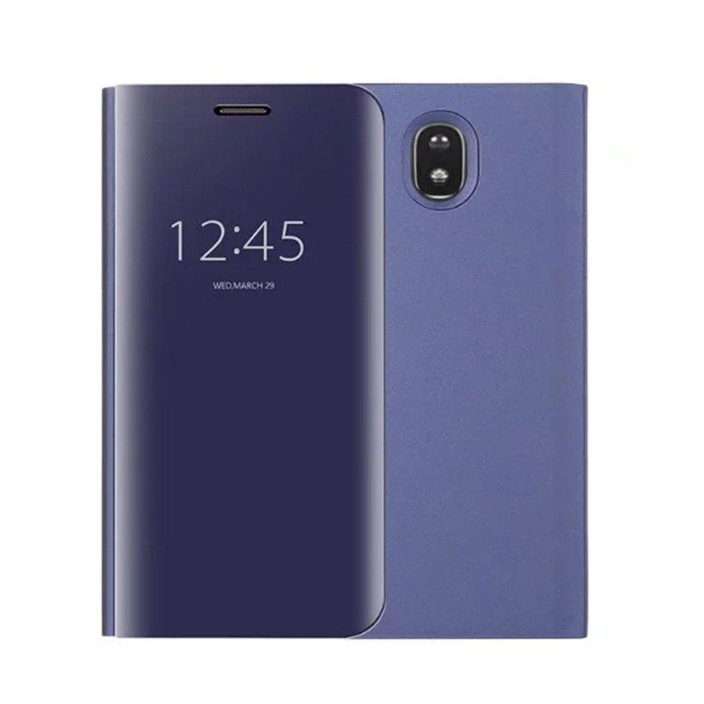 With Stand Plating Mirror Flip Auto Sleep Wake Up Full Body Solid Color Hard PC Case Cover for Galaxy J7 (2017) / J7 Pro - DEEP BLUE