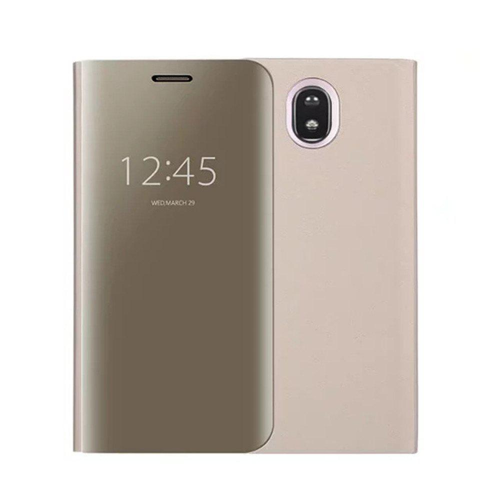 With Stand Plating Mirror Flip Auto Sleep Wake Up Full Body Solid Color Hard PC Case Cover for Galaxy J7 (2017) / J7 Pro - GOLDEN