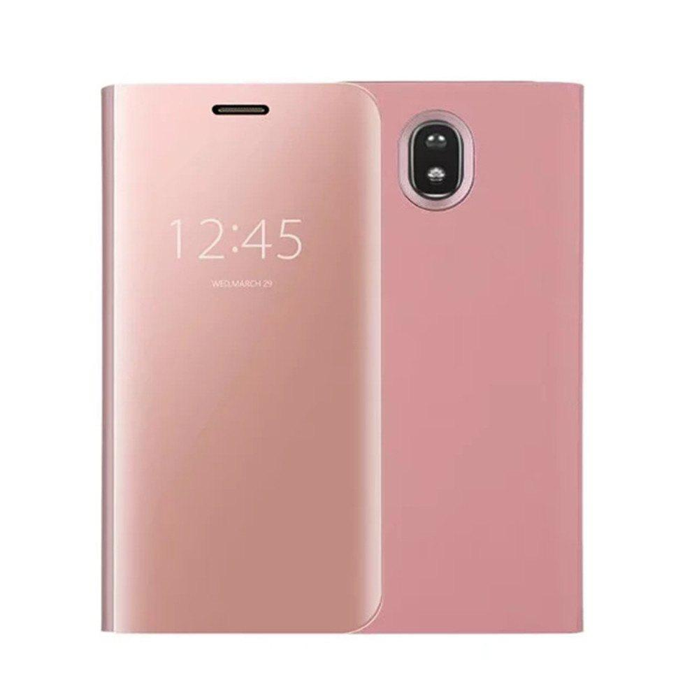 With Stand Plating Mirror Flip Auto Sleep Wake Up Full Body Solid Color Hard PC Case Cover for Galaxy J7 (2017) / J7 Pro - ROSE GOLD