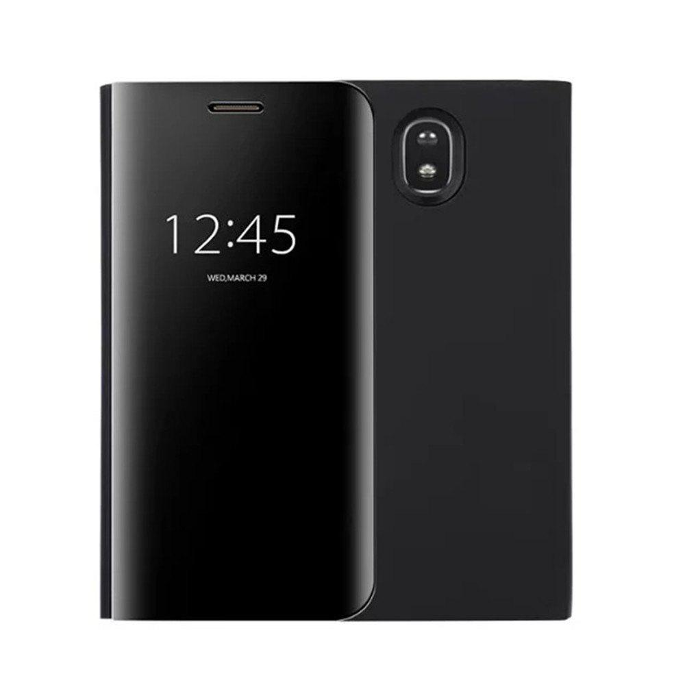 With Stand Plating Mirror Flip Auto Sleep Wake Up Full Body Solid Color Hard PC Case Cover for Galaxy J7 (2017) / J7 Pro - BLACK