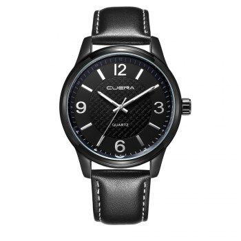 CUENA 6614P Fashion Casual Simple Men's Genuine Leather Band Wristwatch - BLACK BLACK