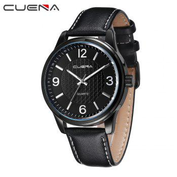 CUENA 6614P Fashion Casual Simple Men's Genuine Leather Band Wristwatch -  BLACK