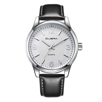 CUENA 6614P Fashion Casual Simple Men's Genuine Leather Band Wristwatch - BLACK BAND SILVER DIAL SILVER CASE BLACK BAND SILVER DIAL SILVER CASE