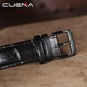CUENA 6614P Fashion Casual Simple Men's Genuine Leather Band Wristwatch - BLACK BAND BLACK DIAL SILVER CASE