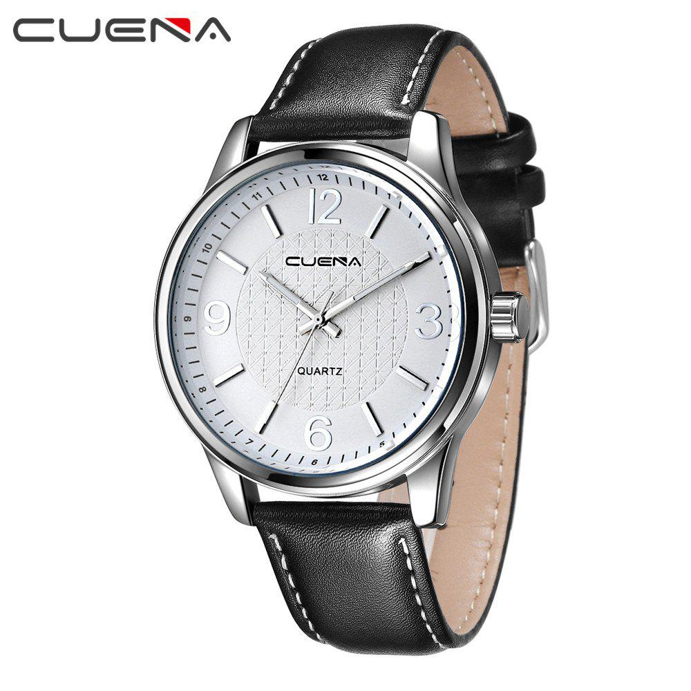 CUENA 6614P Fashion Casual Simple Men's Genuine Leather Band Wristwatch - BLACK BAND SILVER DIAL SILVER CASE