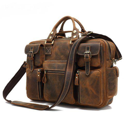 AUGUR Men Genuine Leather Handbag Shoulder Casual Crossbody Bag - LIGHT BROWN
