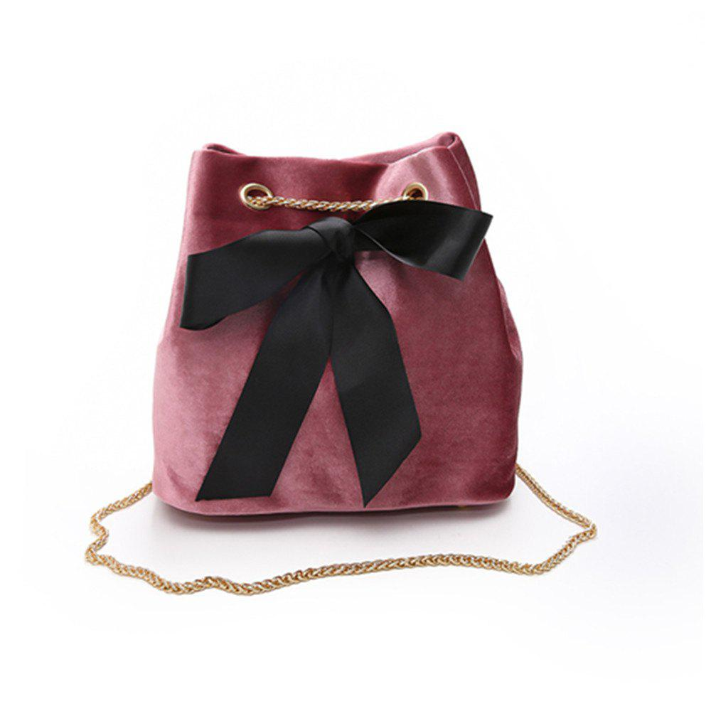 New Bowknot Wild Chain Shoulder Slung Bucket Bag - PINK