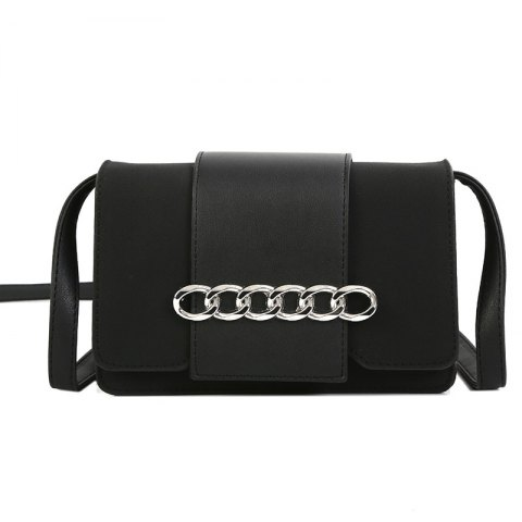 Metal Ring Single Shoulder Bag Grinding Leather Small Square Bag - BLACK