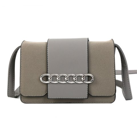 Metal Ring Single Shoulder Bag Grinding Leather Small Square Bag - GRAY