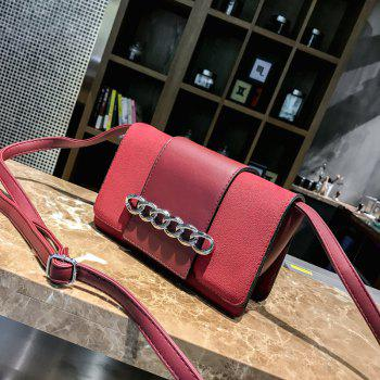 Metal Ring Single Shoulder Bag Grinding Leather Small Square Bag - RED