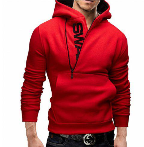 Men of Letters Side Zipper Head Hit Color Sweatshirt - RED L