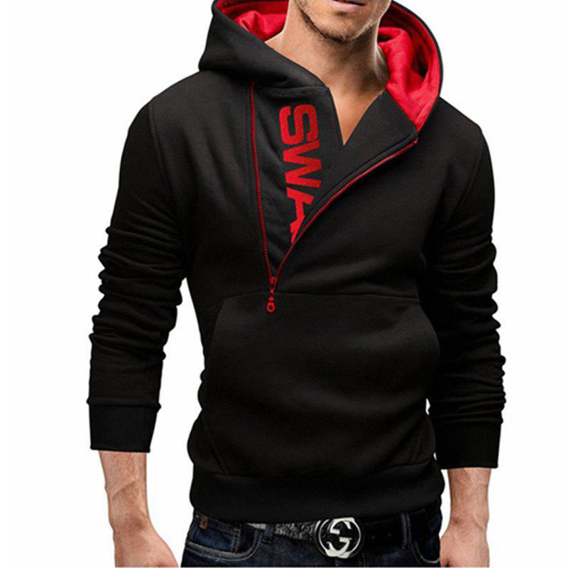 Men of Letters Side Zipper Head Hit Color Sweatshirt - BLACK/RED XL