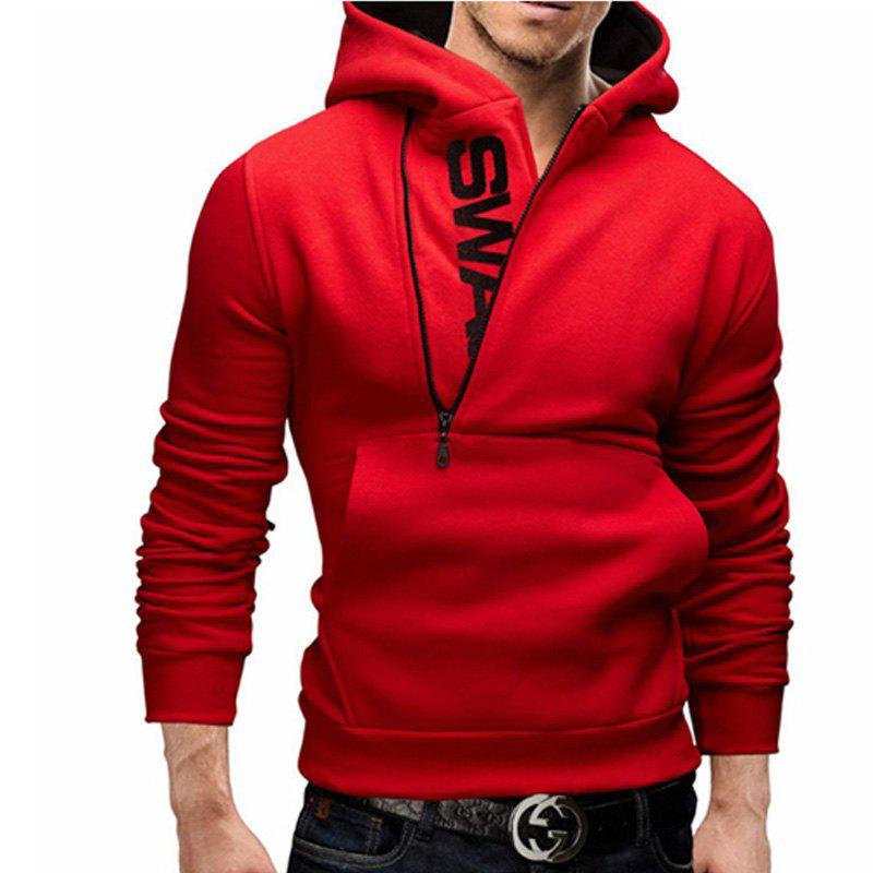 Men of Letters Side Zipper Head Hit Color Sweatshirt men of men
