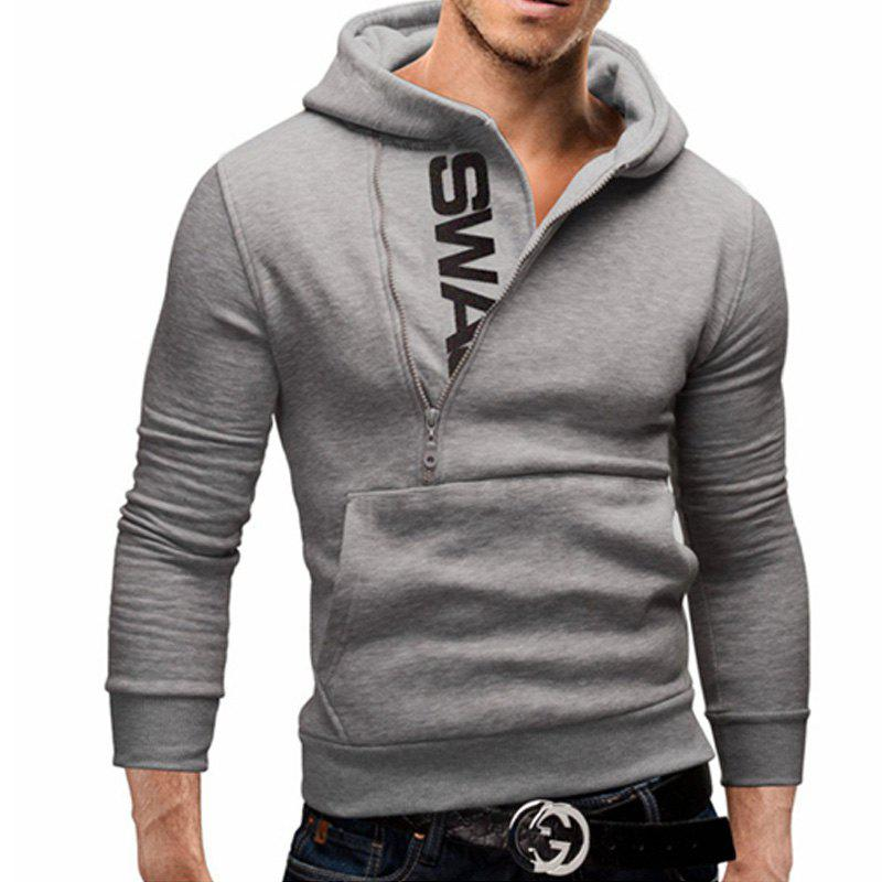 Men of Letters Side Zipper Head Hit Color Sweatshirt - LIGHT GRAY L