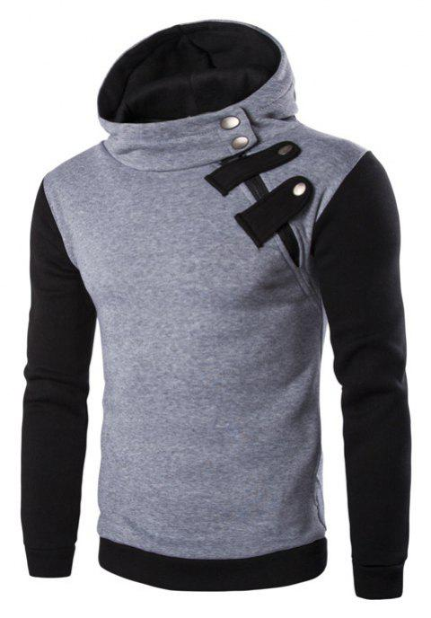 Men'S Leisure Sports Color Hooded Head Oblique Zipper Sweatshirt - LIGHT GRAY L