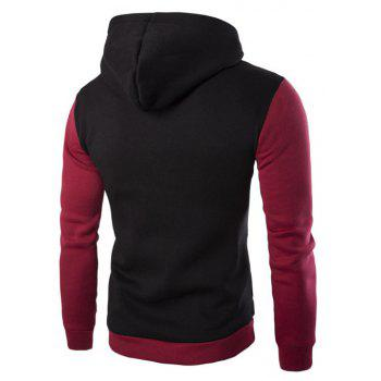 Men'S Leisure Sports Color Hooded Head Oblique Zipper Sweatshirt - BLACK L