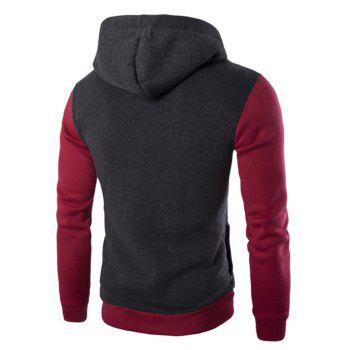 Men'S Leisure Sports Color Hooded Head Oblique Zipper Sweatshirt - DEEP GRAY 2XL