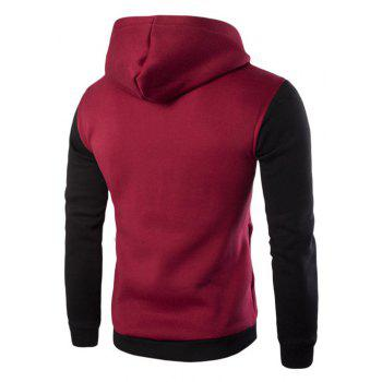 Men'S Leisure Sports Color Hooded Head Oblique Zipper Sweatshirt - RED 2XL