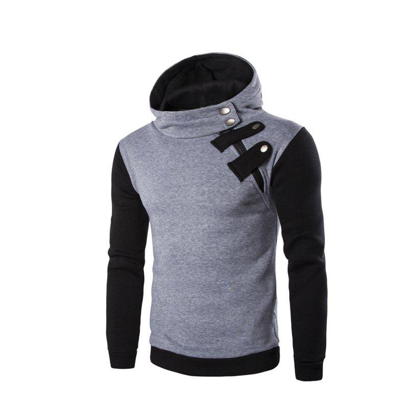 Men'S Leisure Sports Color Hooded Head Oblique Zipper Sweatshirt - LIGHT GRAY M