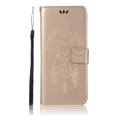 Owl Embossed Pattern PU Leather Wallet Case for Samsung Galaxy S8 - GOLDEN