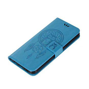 Owl Embossed Pattern PU Leather Wallet Case for Samsung Galaxy S8 - BLUE