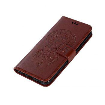 Owl Embossed Pattern PU Leather Wallet Case for Samsung Galaxy S8 - BROWN
