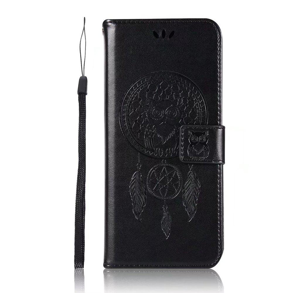 Owl Embossed Pattern PU Leather Wallet Case for Samsung Galaxy S8 - BLACK