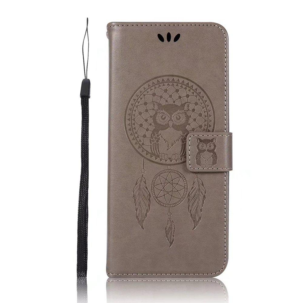 Owl Embossed Pattern PU Leather Wallet Case for Samsung Galaxy S8 - GRAY