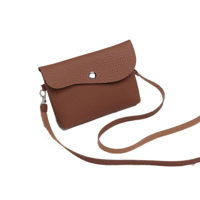 Ladies Casual Lychee Pattern Crossbody Bags - BROWN