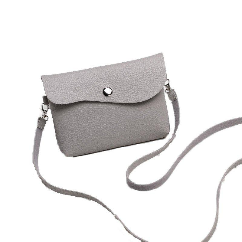 Ladies Casual Lychee Pattern Crossbody Bags - GRAY