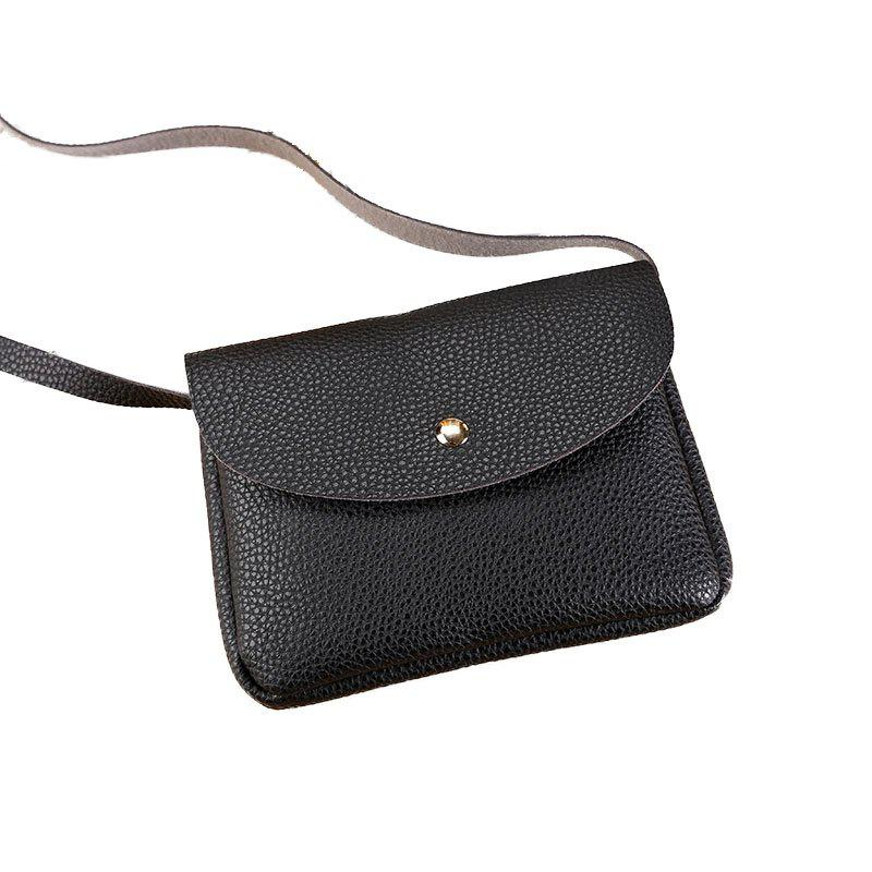 Women Casual Lycra Pattern Mini Crossbody Bag - BLACK