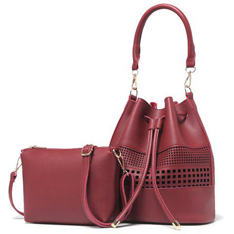 Women Fashion Hollow Two in One Bucket Crossbody Bag - RED