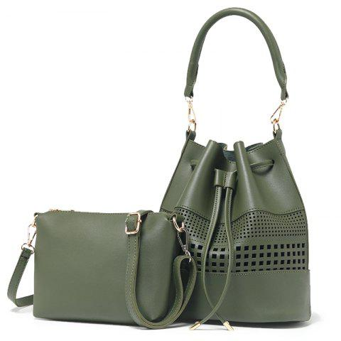 Women Fashion Hollow Two in One Bucket Crossbody Bag - OLIVE GREEN