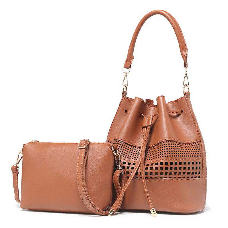 Women Fashion Hollow Two in One Bucket Crossbody Bag - BROWN