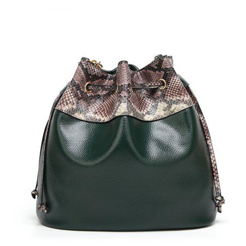 Ladies Snake Pattern Pumping Messenger Bag - DARK GREEN