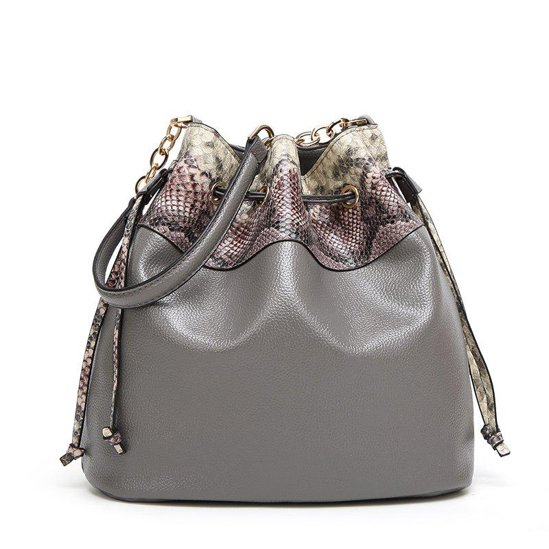 Ladies Snake Pattern Pumping Messenger Bag - GRAY