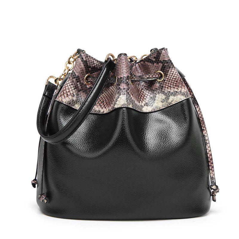Ladies Snake Pattern Pumping Messenger Bag - BLACK