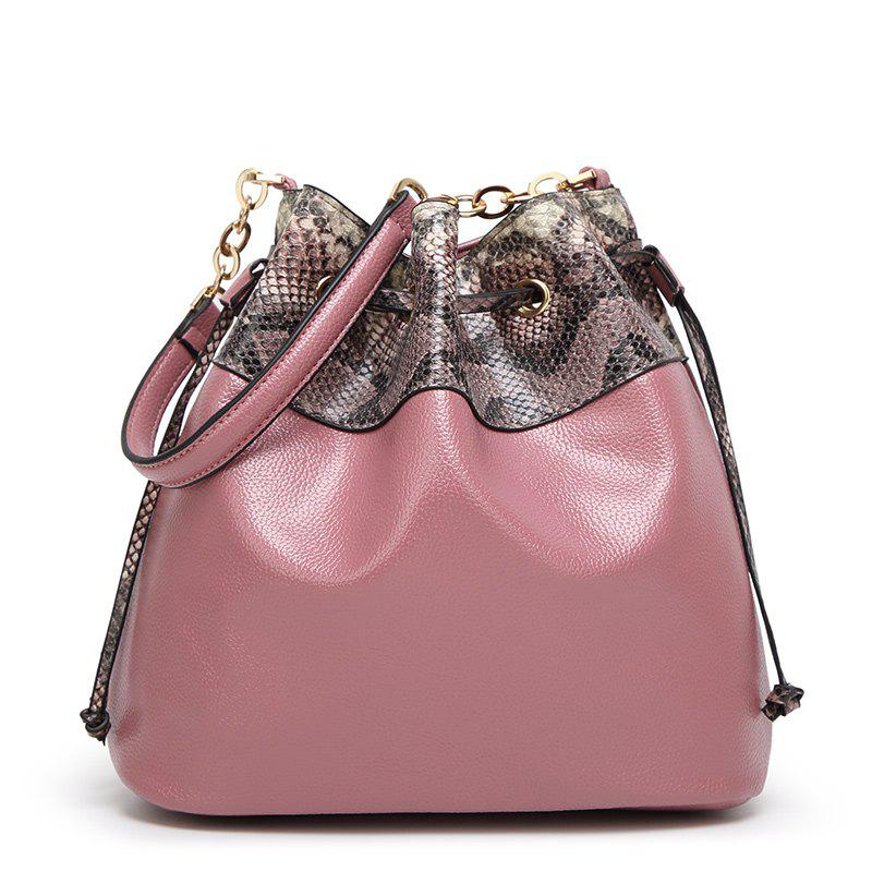 Ladies Snake Pattern Pumping Messenger Bag - PINK
