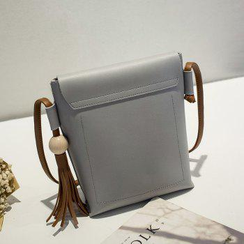 Women Fashion Wood Ball Tassel Mini Crossbody Bag - GRAY