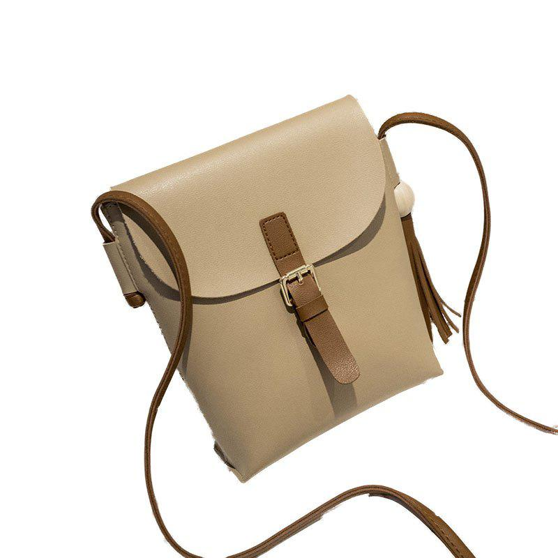 Women Fashion Wood Ball Tassel Mini Crossbody Bag - KHAKI