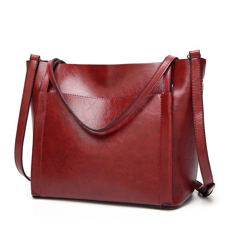 Ladies Classic Wild Wax Leather Tote Shoulder Bag - RED