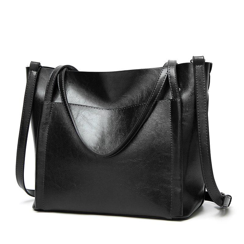 Ladies Classic Wild Wax Leather Tote Shoulder Bag - BLACK