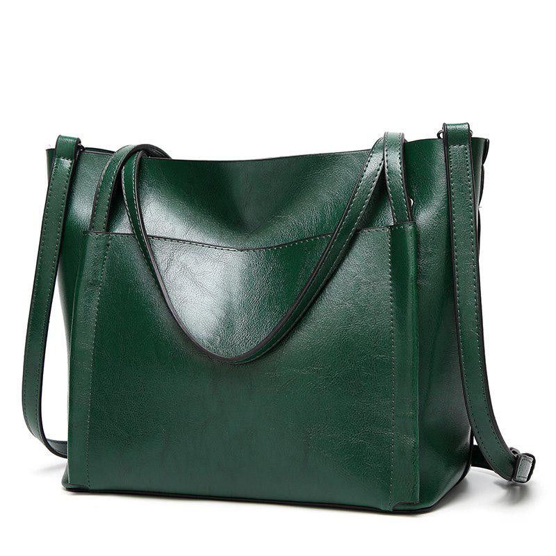 Ladies Classic Wild Wax Leather Tote Shoulder Bag - DARK GREEN