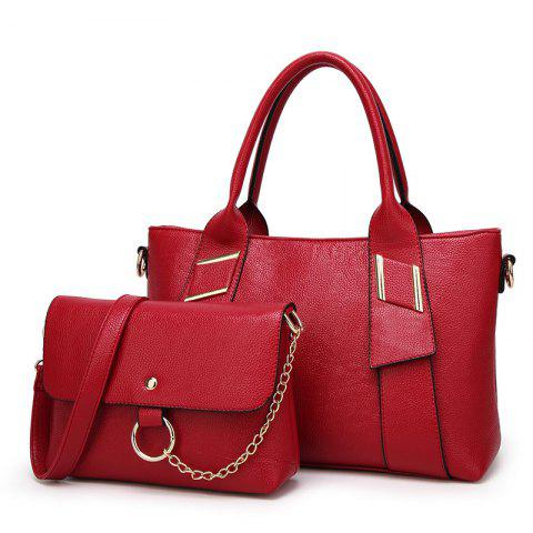 Women Fashion Lychee Pattern Two in One Crossbody Bag - RED